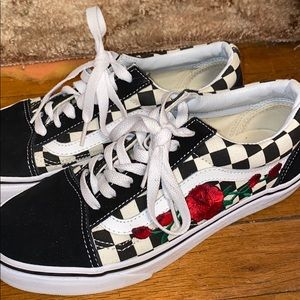 Vans custom made rose shoe